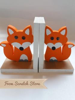Handmade ξύλινη βιβλιοστάτες αλεπού | From Scratch Store