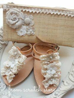 Σανδάλια Δερμάτινα Hand Made Βολάν Lace | From Scrastch Store