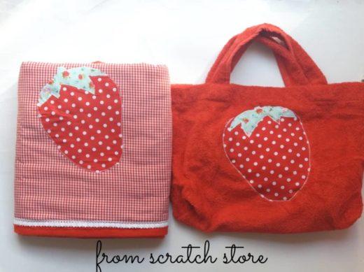 Χειροποίητη πετσέτα θαλάσσης Φράουλα  From Scratch Store
