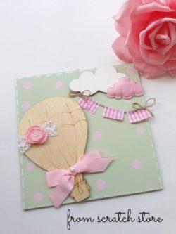 Handmade καδράκι για παιδικό δωμάτιο αερόστατο | From Scratch Store