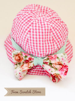 Καπέλο υφασμάτινο καρό ροζ | From Scratch Store