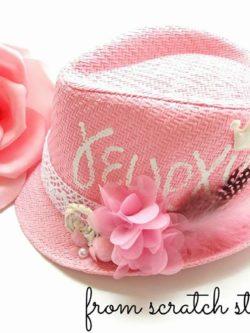 Παιδικό ψάθινο καπέλο με όνομα | From Scratch Store