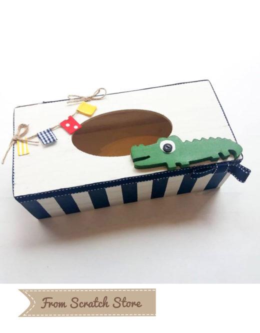 Ξύλινη Θήκη Για Χαρτομάντηλα Κροκόδειλος | From Scratch Store