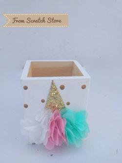 Handmade μολυβοθήκη ξύλινη Unicorn | From Scratch Store
