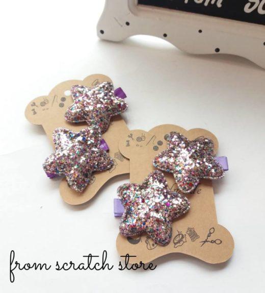 Παιδικό κλιπ μαλλιών με glitter Αστεράκι | From Scratch Store