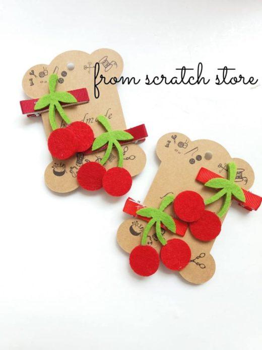 Παιδικό κλιπ μαλλιών κεράσια | From Scratch Store