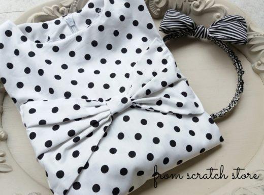Παιδικό χειροποίητο φόρεμα πουά μαύρο   From Scratch Store