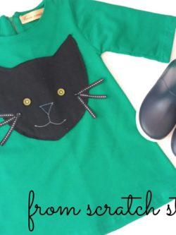 Παιδικό χειροποίητο φόρεμα γατούλα | From Scratch Store