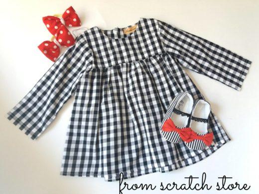 Παιδικό χειροποίητο φόρεμα καρό μαύρο | From Scratch Store