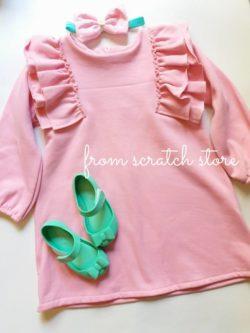 Παιδικό χειροποίητο φόρεμα φούτερ σε ροζ χρώμα | From Scratch Store