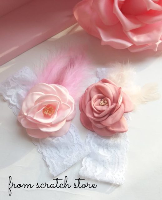 Handmade κορδέλα μαλλιών Κορδέλα με λουλούδια και λευκή δαντέλα | From Scratch Store