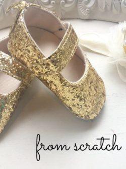Παπούτσια αγκαλιάς μπαρέτες glitter χρυσό | From Scratch Store