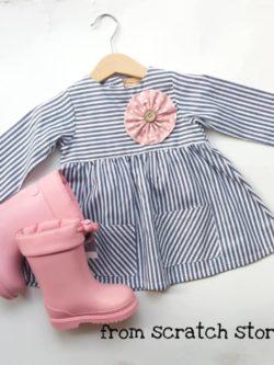 Χειροποίητο παιδικό φόρεμα ριγέ γαλάζιο | From Scratch Store