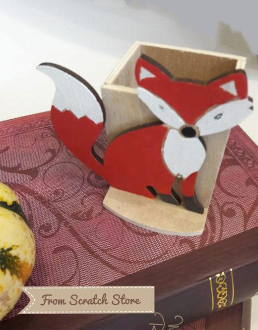 Handmade μολυβοθήκη ξύλινη Fox| From Scratch Store