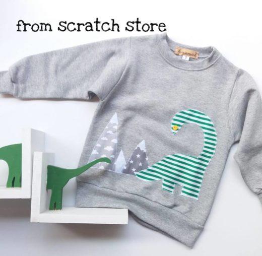 Παιδικό χειροποίητο φούτερ δεινόσαυρος | From Scratch Store