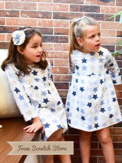 Χειροποίητο παιδικό φόρεμα αστέρια   From Scratch Store