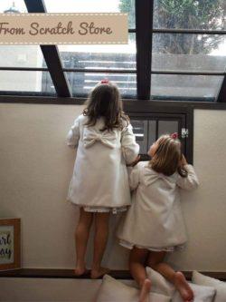 Χειροποίητο παλτό παιδικό σε λευκό χρώμα | From Scratch Store