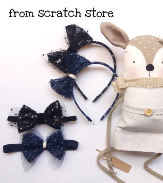 Παιδική στέκα & κορδέλα μαλλιών sparkling Blue | From Scratch Store