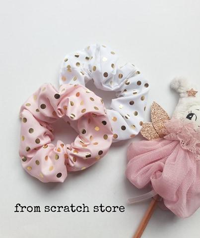Λαστιχάκια Scrunchies Πουά / From Scratch Store