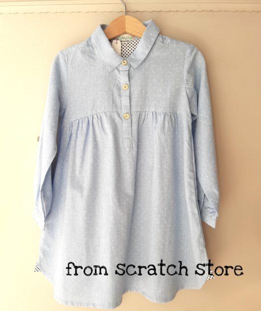 shirt dress γαλαζιο